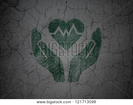 Insurance concept: Heart And Palm on grunge wall background