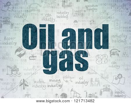Manufacuring concept: Oil and Gas on Digital Paper background