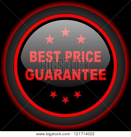 best price guarantee black and red glossy internet icon on black background
