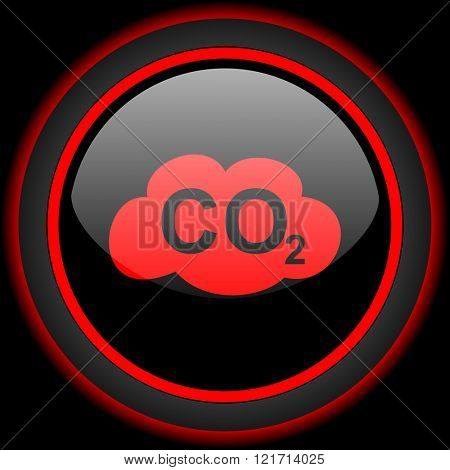 carbon dioxide black and red glossy internet icon on black background