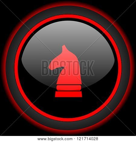 chess horse black and red glossy internet icon on black background