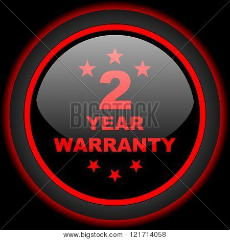warranty guarantee 2 year black and red glossy internet icon on black background