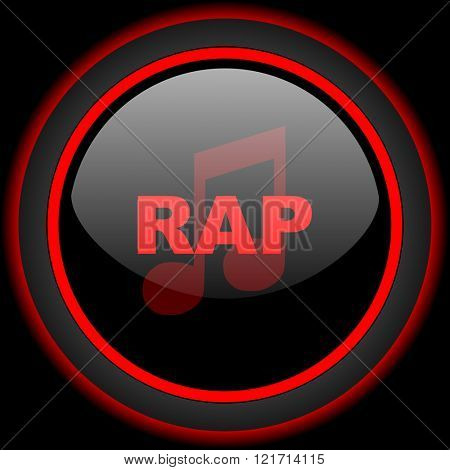 rap music black and red glossy internet icon on black background