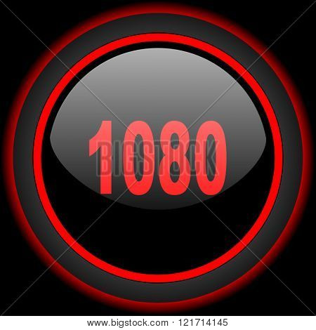 1080 black and red glossy internet icon on black background