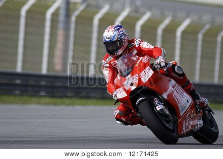 Sepang, MALAYSIA - 7 February: MotoGP rider Nicky Hayden doing a practice run at the MotoGP winter testing sessions held in Malaysia. 7 February 2009 in Sepang International Circuit Malaysia
