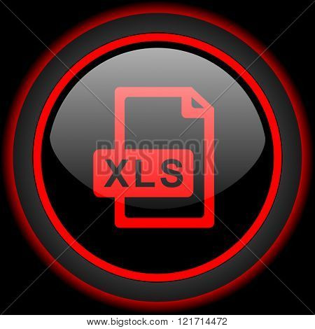 xls file black and red glossy internet icon on black background