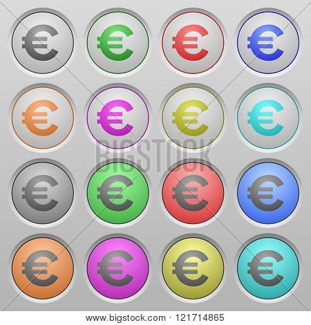 Euro Sign Plastic Sunk Buttons