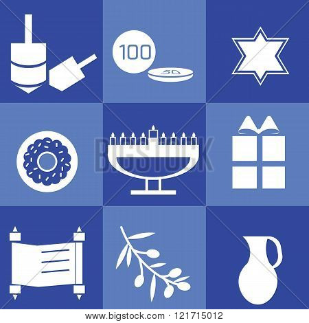 Blue and white set with hanukkah elements