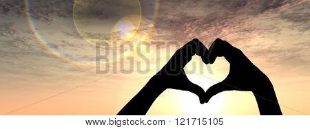 Concept or conceptual heart shape or symbol made of human or woman and man hand silhouette over a sky at sunset background banner