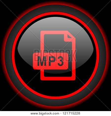 mp3 file black and red glossy internet icon on black background