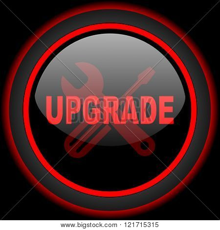 upgrade black and red glossy internet icon on black background