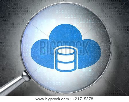Database concept: Database With Cloud with optical glass on digital background