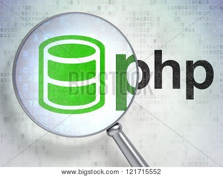 Database concept: Database and Php with optical glass