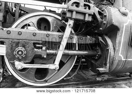wheel detail of a vintage russiam steam train locomotive