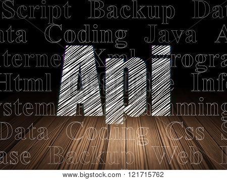 Programming concept: Api in grunge dark room