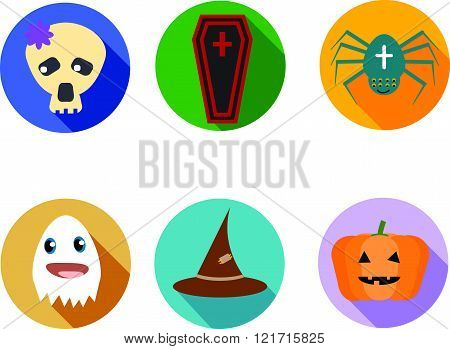 Funny And Cute Kit Of Six Halloween Icons