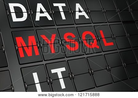 Software concept: MySQL on airport board background