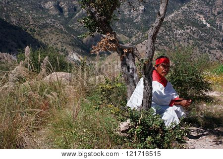 Indigenous Tarahumara Man Wearing Traditional Tribal Outfit, In Copper Canyons, Chihuahua, Mexico