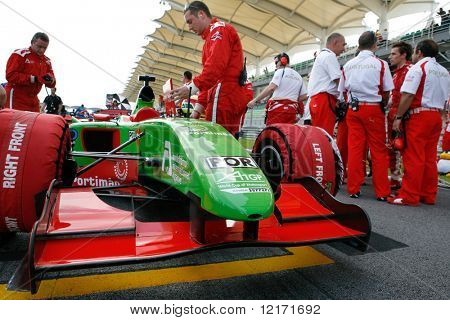 Sepang, MALAYSIA - 23 November: Team Portugal at the starting grid at the World A1 GP championship races held in Malaysia. 23 November 2008 in Sepang International Circuit Malaysia.
