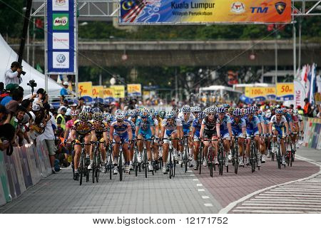 KL, MALAYSIA - 15 February: Cyclists approaching the finishing line at the le Tour de Langkawi race, Stage 7, KL Criterium. in Kuala Lumpur Malaysia 15 February 2009
