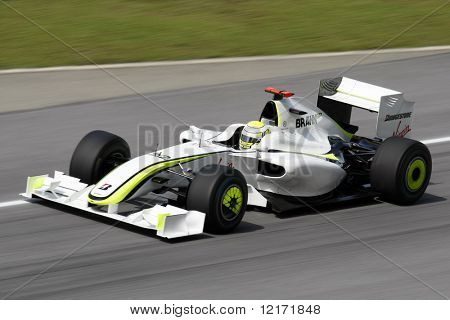 SEPANG, MALAYSIA - APRIL 3: BRAWN GP's Jenson Button practices at the 2009 F1 Petronas Malaysian Grand Prix April 3, 2009 in Sepang Malaysia.