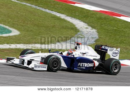 SEPANG, MALAYSIA - APRIL 4: Team BMW Sauber's Robert Kubica in action at the 2009 F1 Petronas Malaysian Grand Prix April 4, 2009 in Sepang, Malaysia.