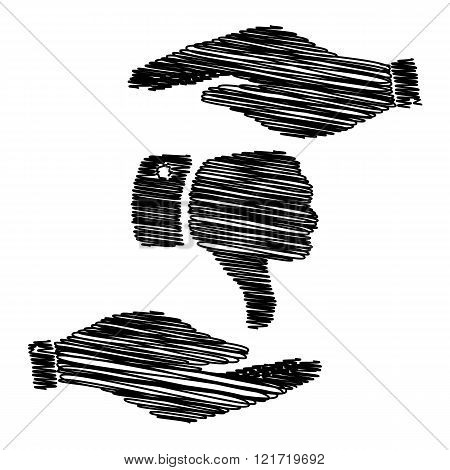 Hand sign with scribble effect