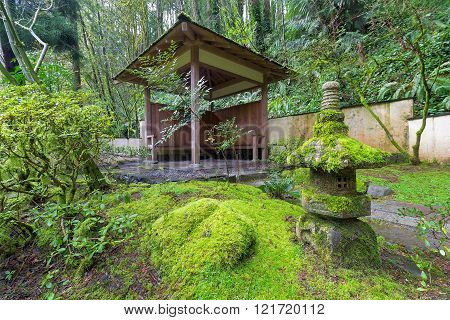 Wood Shelter At Japanese Garden