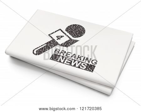 News concept: Breaking News And Microphone on Blank Newspaper background