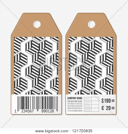 Vector tags design on both sides, cardboard sale labels with barcode. Recurring cubes. Geometric pat