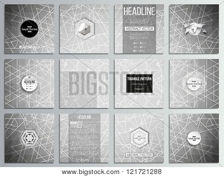 Set of 12 creative cards, square brochure template design. Sacred geometry, triangle design gray bac