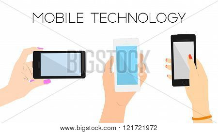 Set of three hands with phones.Man and woman hands touching screen and searching web.Copy space.Mini