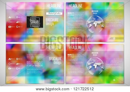 Vector set of tri-fold brochure design template on both sides with world globe element. Colorful bac