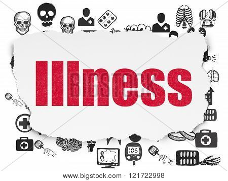 Health concept: Illness on Torn Paper background