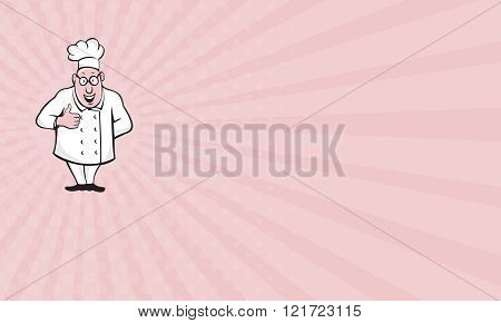 Business card Chef Cook Thumbs Up Isolated Cartoon