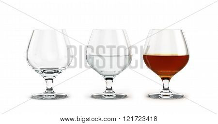 Three Glasses Of Brandy To Empty The Water And Alcohol