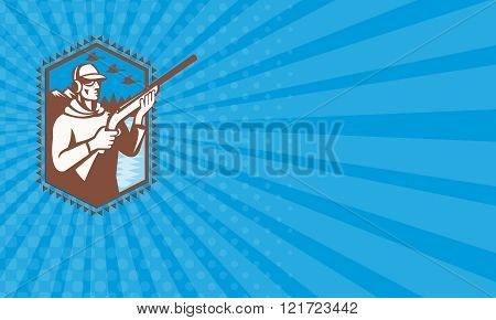 Business card Hunter With Shotgun Rifle Duck Shooting Retro