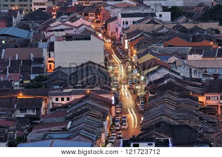 Penang Kimberley street with light trail and heritage houses