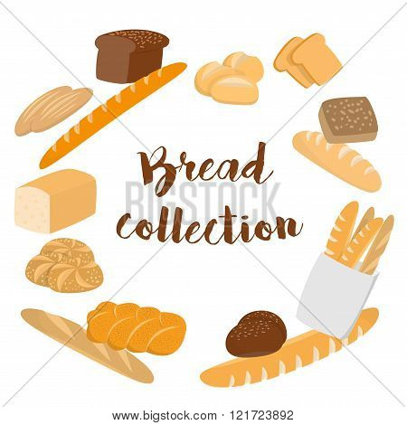 Different kinds of bread set for cafe menu. Collection of pastry or bakery items isolated on white f