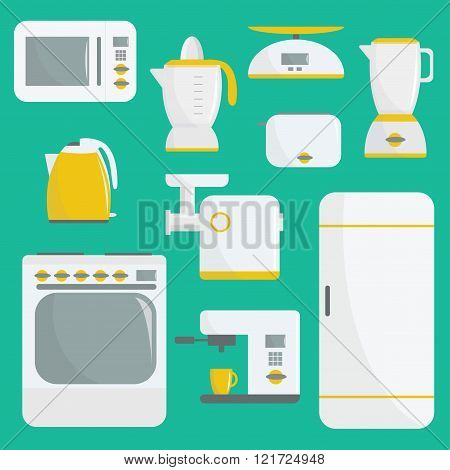 Flat vector kitchenware illustration. Kitchen appliances. Set of elements. Microwave, oven, refriger