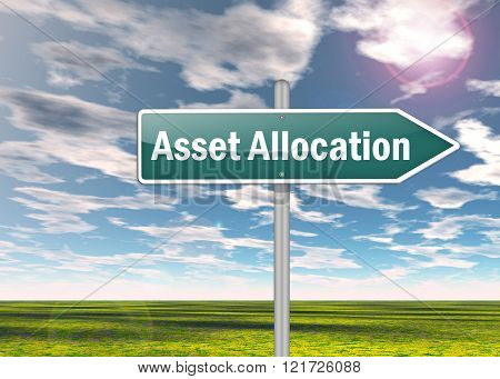 Image Picture Signpost with Asset Allocation wording
