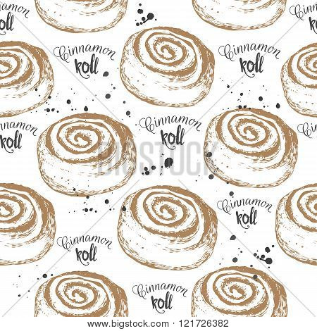 Seamless food background with cinnamon roll. Fresh organic food.