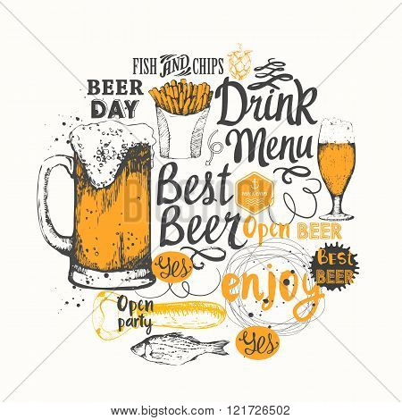 Different types of beer, cider and snack in sketch style.