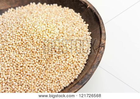 Quinoa Puffed In Rustic Wooden Bowl Isolated White Background