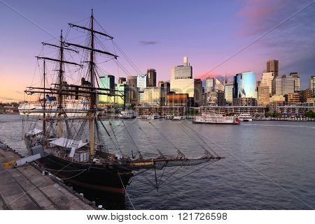 Darling Harbour bay in Sydney at sunset