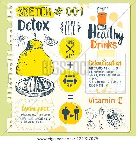 Food sketchbook. Useful drinks in sketch style.