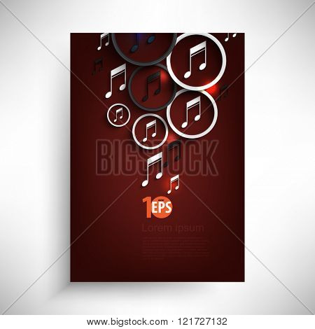 musical note inside a ring party concept background, eps10 vector