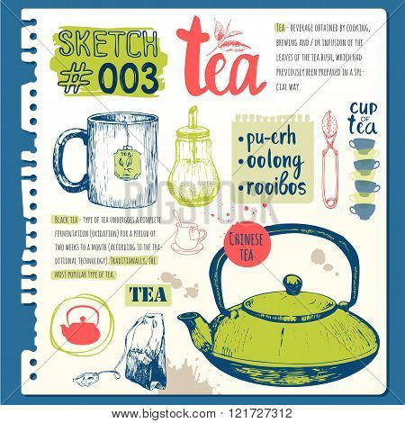 Food sketchbook with homemade tea party illustrations.