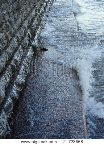 Sea Wall Pathway And Waves Beach Seascape