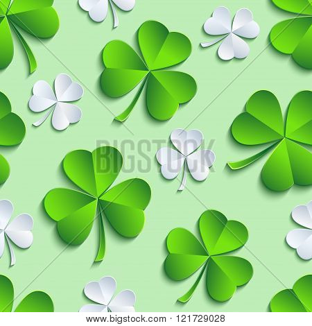 Beautiful stylish st. Patrick's day seamless pattern with gray and green stylized 3d leaf clover cutting paper. Spring nature background. Floral trendy modern wallpaper. Vector illustration